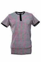 Men's 60's Indie Mod Gingham Check Grandad Collar Short Sleeve T Shirt