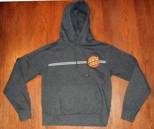 Santa Cruz front back logo size S small dark grey gray drawstring pocket Hoodie