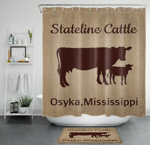 Abstract Cow Heifer Farm Animal Brown Color Waterproof Fabric Shower Curtain Set