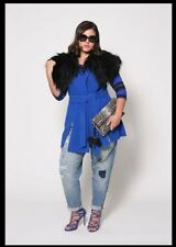 ab76702a9f0 NEW CHRISTIAN SIRIANO LANE BRYANT BLUE VEST WITH FUR COLLAR COAT JACKET  14 16
