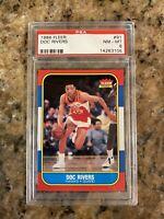 1986 FLEER BASKETBALL #91 DOC RIVERS ROOKIE RC PSA 8 NM-MT HAWKS
