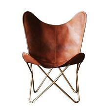Leather Butterfly chair Tan leather living room chair with gold metal base Frame