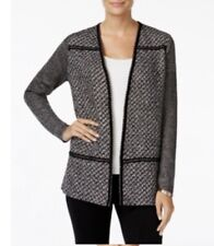 charter club petite tweed open front cardigan women size s