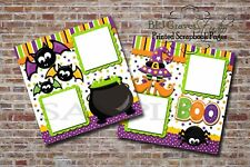 Halloween Witch Bat Spider 2 PRINTED Premade Scrapbook Pages BLJgraves 5