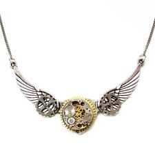 steampunk gothic punk rock choker chain necklace wings clock watch parts jewelry