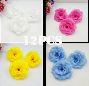 12Pcs Silk Artificial Rose Cloth Wedding Room DIY Decoration Dress Fake Flowers