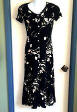 Casual Corner Womens Size Small Black Floral Shirtwaist Dress Cap Sleeve