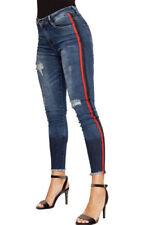 Gestreifte Damen-Jeans Normalgröße Hosengröße 38