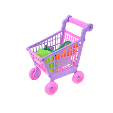 Kid Childrens Shopping Trolley Cart Role Play Set Toys With Plastic Fruits Food