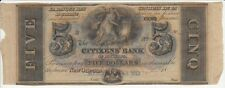 """THE CITIZENS' BANK OF LOUISIANA FIVE DOLLAR NOTE """"CRISP w/ """"Interesting"""" ENDS"""