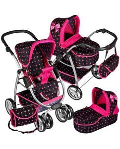 Girls Dolls Toy Pram and Pushchair  2in1 Adjustable Handle Foldable Combi Pram
