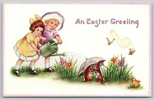 Easter~Young Girls Water Flowers~Rabbits Cover Under Umbrella~Whitney Made