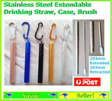 1 - 2 Metal Extendable Reusable Telescopic Stainless Steel Straws + Straw Brush