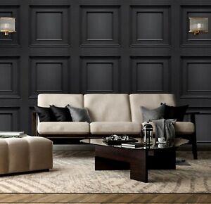 3D Panel Effect Wallpaper Heavy Weight Italian Amara Wood Textured Vinyl Black