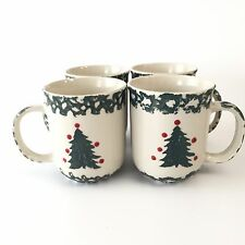 4 Folk Craft Winter Wonderland Tienshan Pine Christmas Tree Coffee Mug Tea Cup
