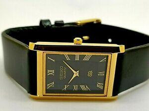 Seiko Quartz Super Slim Men's Gold Plated Excellent Rectangle Black Face Watch