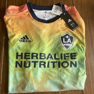 Adidas Men's FC LA GALAXY MLS 2021 LGBT Pride Edition Jersey Size L GJ0783 NEW!