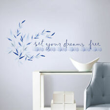 SET YOUR DREAMS FREE WALL DECALS Kathy Davis Inspirational Quotes Blue Stickers