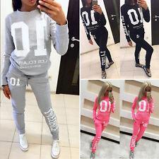 2Pcs Set Womens Tracksuit Loungewear Casual Jogger Jogging Long Pants Sweatshirt