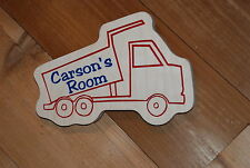 Custom Personalized Wood Carved Kids Room Toy Dump Truck Sign Plaque Man Cave