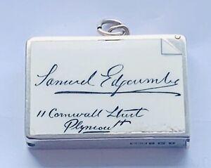 """""""Antique Solid Silver & Enamel Calling Card Vesta Case"""" Birmingham 1920 Rare"""