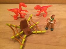 Imaginext Thunder the Brontosaurus Dinosaur Caveman Saddle w/ Orange Raptors