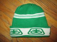 vtg 70s 80s PIONEER SEED LOGO WINTER HAT Knit Cap Snow Farmer Farming Green