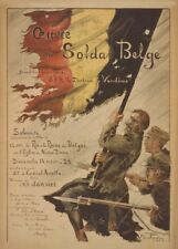 Association of the Belgian soldier. Vintage French WW1 Propaganda Poster