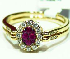 .77CT 14K Gold Natural Cut Round Ruby Diamond Engagement Flip Ring Designer Deco