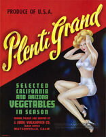 Vintage 1940s PLENTI GRAND Pin-Up Girl Produce CRATE LABEL ART PRINT 7.8x10 Size
