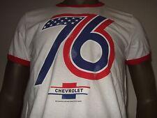 Nwt Men's Med White & Red 1976 GM Chevrolet Motors 76 Car Truck Ringer Tee Shirt