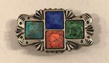 Nony Vintage Button Cover Southwest Design Faux Turquoise Coral Square Stones