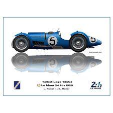 Print on paper Talbot Lago T26GS #5 Louis Rosier / Rosier Winners 24h LM 1950