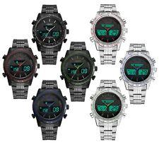 OHSEN Mens Steel Digital Analog Chronograph Quartz Alarm Water Resistant Watch