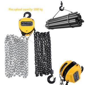 Chain Block Hoist Lifting 1Ton/1000 kg Workshop Equipment +Hook Lifting Tool