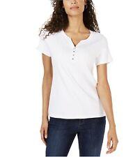 Karen Scott Xl Womens NEW White Solid Henley Top Pullover