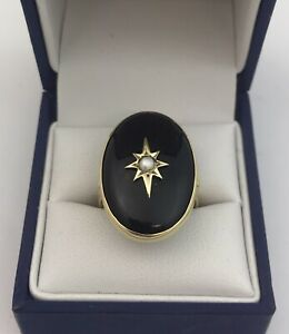 Lovely Large Antique 18ct Gold, Onyx & Pearl Ring. Size O. Birmingham 1901
