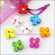 40Pcs Mixed Craft Wood Wooden Flower Clover Spacer Beads Charms 13mm