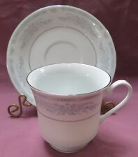 CROWN MING FINE CHINA 'DIANA' BLUE & PINK FLOWERS SILVER TRIM CUP AND SAUCER