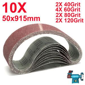 "10pcs 50 x 915mm 2x36"" Sanding Belt 40 60 80 120 Grit Sander Abrasive Metal Wood"