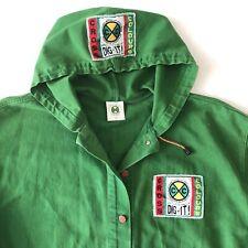 Vintage Cross Colours Dig It! Green Denim Hoodie Jean Jacket Size 3