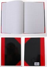 A4 A5 RULED LINED/SQUARED HARDBACK NOTEBOOK NOTEPAD PAD 200 Pages / 100 Sheets