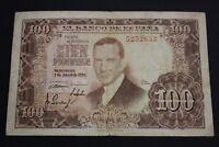 SPAIN 1953 100 PESETAS SIN SERIE JULIO ROMERO DE TORRES BANKNOTE CIRCULADO