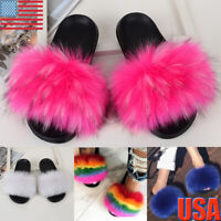 Women's Fluffy Slippers Faux Fox Fur Slides Fuzzy Furry Sandals Mules Shoes Size