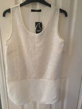 Oasis Cream Top With A Sequinned Panel Size 8 New With Tags Really Nice On