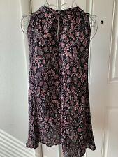 Women Wlid Pearl Black Pink Paisley Print Sleeveless Dress Size S