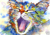 CAT KITTEN Painting Print of Original Watercolour Picture Art by JOSIE P