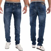 Herren Slim Tapered Fit Jeans Denim dunkelblau Jeanshose Hose stretch