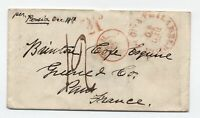 1856 Philadelphia to France transatlantic stampless paid 21 [H.573]