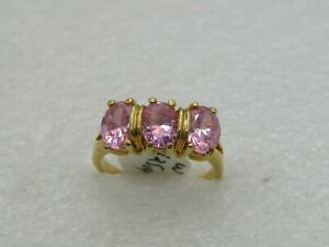 14kt Gold Plated Pink CZ Ring, Sz. 10,